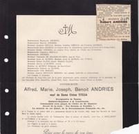 TAMISE TEMSE Burgemeester Alfred ANDRIES Veuf TITECA  1864-1923 Sénateur Suppléant En 1893 Famille BREULS - Décès
