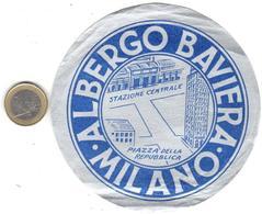ETIQUETA DE HOTEL  -ALBERGO BAVIERA  -MILANO  -ITALIA - Hotel Labels