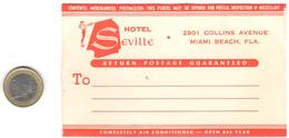ETIQUETA DE HOTEL  - HOTEL SEVILLA  -MIAMI BEACH - Etiquetas De Hotel