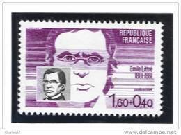 """France 2328  Neuf ** Emile Littré """" (cote 1,00€) - Sous Faciale - France"""