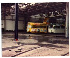 35mm ORIGINAL PHOTO Manchester Corporation's Queens Road Tram Depot - F006 - Trains