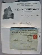 LETTRE & COURRIER à ENTÊTE - Arbois Jura 39 Charpente E. Bonnivard 1911 - France