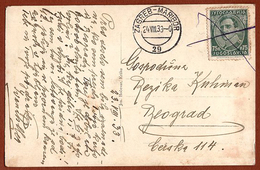 YUGOSLAVIA-CROATIA-SLOVENIA, ZAGREB-MARIBOR 29 TPO RAILWAY CANCELLATION, KRSKO PPC 1933 RARE!!!!! - 1931-1941 Kingdom Of Yugoslavia