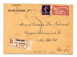 Lettre Recommandee Chalons Sur Merson Semeuse - Marcophilie (Lettres)