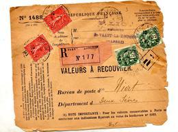 Devant De Lettre Recommandee à Recouvrer Saint Waast Sur Blanc Semeuse - Marcophilie (Lettres)