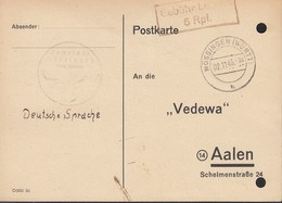 FrzZone  Gebühr Bezahlt 6 Rpf., Barfrankatur MiNr. B 15b: Mössingen 2.11.1945 - Zona Francesa