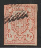 Zwitserland Helvetia  1852  Mi.nr.  10  Rayon III  Used  CV  € 650,00 - 1854-1862 Helvetia (Non-dentelés)