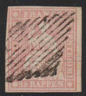 Zwitserland Helvetia  1854   Mi.nr.  15 I  Used   CV  € 20,00 - 1854-1862 Helvetia (Ungezähnt)
