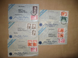 LOT DE 5 LETTRES AVION POSTEES  EN 1949/1950 AU TOTAL 13 TIMBRES OBLITERES - Briefe U. Dokumente