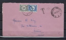 N°TX39+TX48 GESTEMPELD OP OMSLAG Bruxelles 1954 COB € +7,50 - Covers