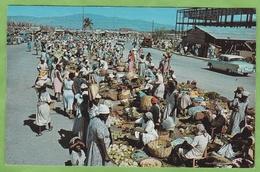 Belle CPSM HAITI Port Au Prince West Indies Market Scene Marché Animé - Haiti