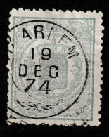 """1869 Rijkswapen 1 Ct Groen. NVPH 15 Franco Takje """"HAARLEM"""" - 1852-1890 (Wilhelm III.)"""