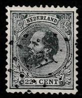 1872 Koning Willem III 22,5 Ct.  NVPH 25H 12,5x12. - Usati