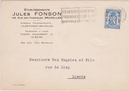 """426 Firma Kaart J.Fonson Perfo """" F"""" 1943, Vers LIERRE - 1934-51"""