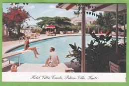Rare CPSM HAITI PIETON VILLE Villa Creole Hotel Swiming Pool Piscine Animé Format CPA - Haiti