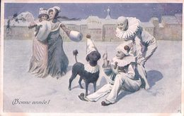 Bonne Année, Femmes, Pierrots Et Chien Sous La Neige + Timbre Pro Juventute (29952) - New Year