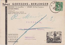 Imprimerie-Librairie - R. GOESSENS BERLENGER - LESSINES / Adresse: Rectifiée Par Le Facteur. - Charleroi