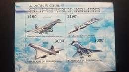 O) 2012 BURUNDI, AVIONS CIVILS - SUPERSONIC AIRCRAFT - RESEARCH AND MILITARY PURPOSES - TUPOLEV - CONCORDE -MNH - Burundi