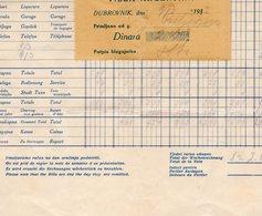 1932 YUGOSLAVIA, CROATIA, DUBROVNIK, VILLA ARGENTINA, INVOICE ON HOTELS LETTERHEAD, 1 FISKAL STAMP - Invoices & Commercial Documents