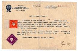 1936 YUGOSLAVIA, SLOVENIA, MARIBOR, SLOVENIAN MOUNTAINEERING SOCIETY,  MEMBERSHIP RECEIPT - Invoices & Commercial Documents