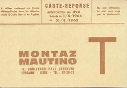 Carte Reponse Renseignements  Montaz Mautino Remontée Mecanique Téléski Téléphérique Télécabine Télésiège Année 64 - Grenoble