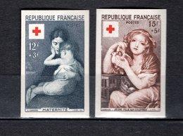 FRANCE  N° 1006 + 1007   NON DENTELES  NEUFS SANS CHARNIERE  COTE 230.00€   CROIX ROUGE - France