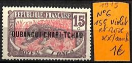 [838174]TB//**/Mnh-Oubangui 1915 - N° 6, 15c Violet Et Rose, Félins, Animaux - Neufs