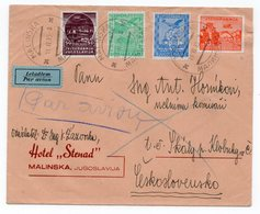1935 YUGOSLAVIA, CROATIA, MALINSKA TO CZECHOSLOVAKIA, HOTEL STENAD, AIR MAIL - 1931-1941 Kingdom Of Yugoslavia