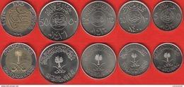 Saudi Arabia Set Of 5 Coins: 5 - 100 Halalah 1977-2015 UNC - Arabia Saudita