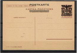FAL12 - POLOGNE GENERALGOUVERNMENT CARTE POSTALE MICHEL N° P7F  NEUVE - 1939-44: 2. WK