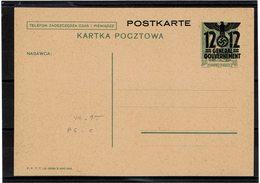 FAL12 - POLOGNE GENERALGOUVERNMENT CARTE POSTALE MICHEL N° P6/II  NEUVE - 1939-44: 2. WK