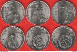 "Philippines Set Of 3 Coins: 1 Piso 2016 ""Ricarte, Costa, Torres"" UNC - Philippinen"