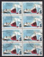 Australia 1969 Ports & Harbours 5c Block Of 8 Used - 1966-79 Elizabeth II