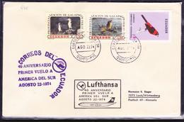 ECUADOR 1974 FIRST FLY COVER LUFTHANSA AZUMBICHE BIRD GALAPAGOS ISLANDS PR SEA LION & PROVINCIALIZATION PIQUERO BLUE LEG - Ecuador