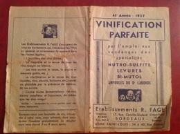 Vinification Fage Bordeaux 1937 14 Pages - Advertising