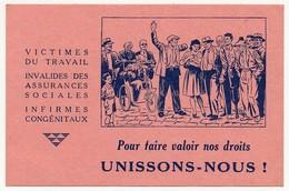 """""""Pour Faire Valoir Nos Droits, Unissons-nous !"""" - Carton Publicitaire Fédération Nationale Des Mutilés Du Travail - Advertising"""
