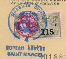 """Timbre Fiscal 115F Sur Carte Nationale D'Identité - Beau Cachet """"MASSILIA CIVITAS 4 Bureau Annexe De Saint Marcel"""" - Fiscaux"""