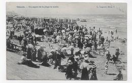 (RECTO / VERSO) OSTENDE EN 1907 - LA PLAGE LE MATIN - PETIT PLI ANGLE BAS A DROITE - BEAU TIMBRE ET CACHET - CPA VOYAGEE - Oostende