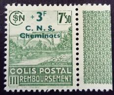 France 1942 Colis Postaux Viaduc Pont Bridge Train Remboursement Surchargé Overprinted C.N.S.Cheminots Yvert 197 (*) MNG - Ungebraucht