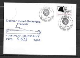 Sous Marin OUESSANT  - Dernier SMD Français ( 1978 - 2009) -BREST PRINCIPAL 28/11/09 - Storia Postale