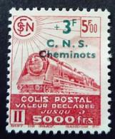 France 1942 Colis Postaux Train Valeur Déclarée Surchargé Overprinted C.N.S.Cheminots Yvert 195 (*) MNG - Ungebraucht