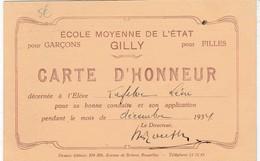 GILLY / MOHA / CARTE D HONNEUR DE L ECOLE MOYENNE  DEGILLY / RUINES DU CHATEAU DE MOHA - Charleroi