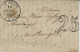1851- Lettre De LA GRAVE ( Hautes Alpes ) Cad T14  + Taxe Dt 25 - Postmark Collection (Covers)