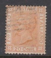 Italy S 28 1877 King Victor Emmanuel II,20c Orange, Used - Used