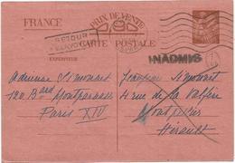 ENTIER 90C IRIS CP INTERZONE PARIS DEPART 1940 POUR MONTPELLIER + INADMIS RETOUR - Poststempel (Briefe)