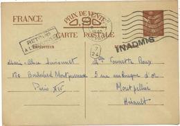 ENTIER 90C IRIS CP INTERZONE PARIS DEPART 1940 POUR MONTPELLIER + INADMIS RETOUR + 7/24 - Marcophilie (Lettres)