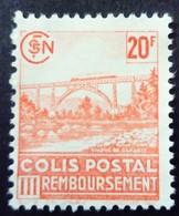 France 1943 Colis Postaux Viaduc Pont Bridge Train Remboursement Yvert 211 (*) MNG - Colis Postaux