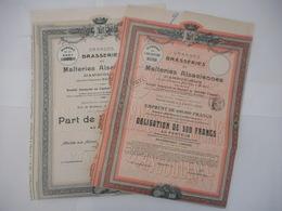 LOT De 2 BRASSERIES Et MALTERIES ALSACIENNES D'ANGOULEME 1914 - Acciones & Títulos