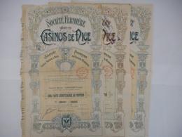 LOT De 3 Societe FERMIERE Des CASINOS De NICE 1910 - Tourisme