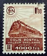 France 1942 Colis Postaux Train Valeur Déclarée Sans Filigrane Without Watermark Yvert 187B O Used - Paketmarken